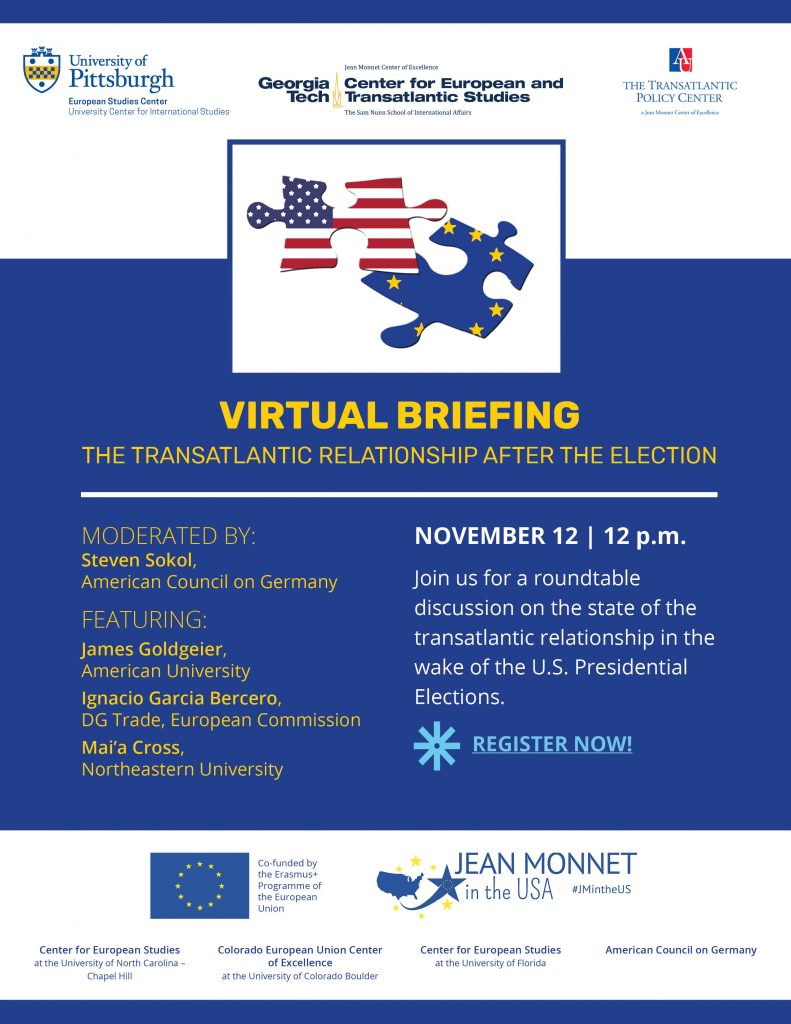 Flyer for November 12 event on transatlantic relationship after the election.