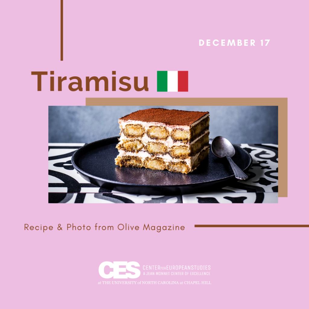 Tile with picture of tiramisu