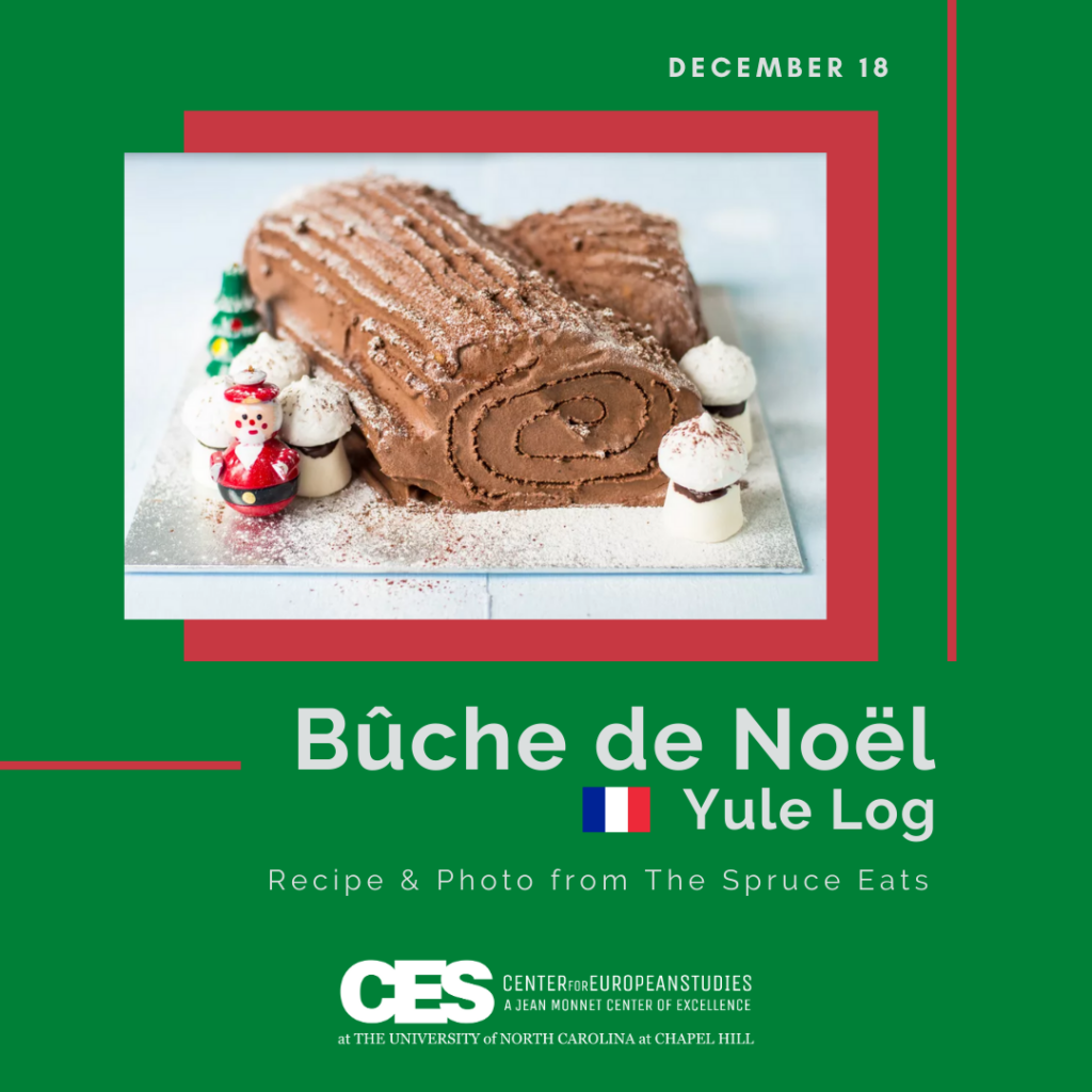 Tile with picture of yule log cake