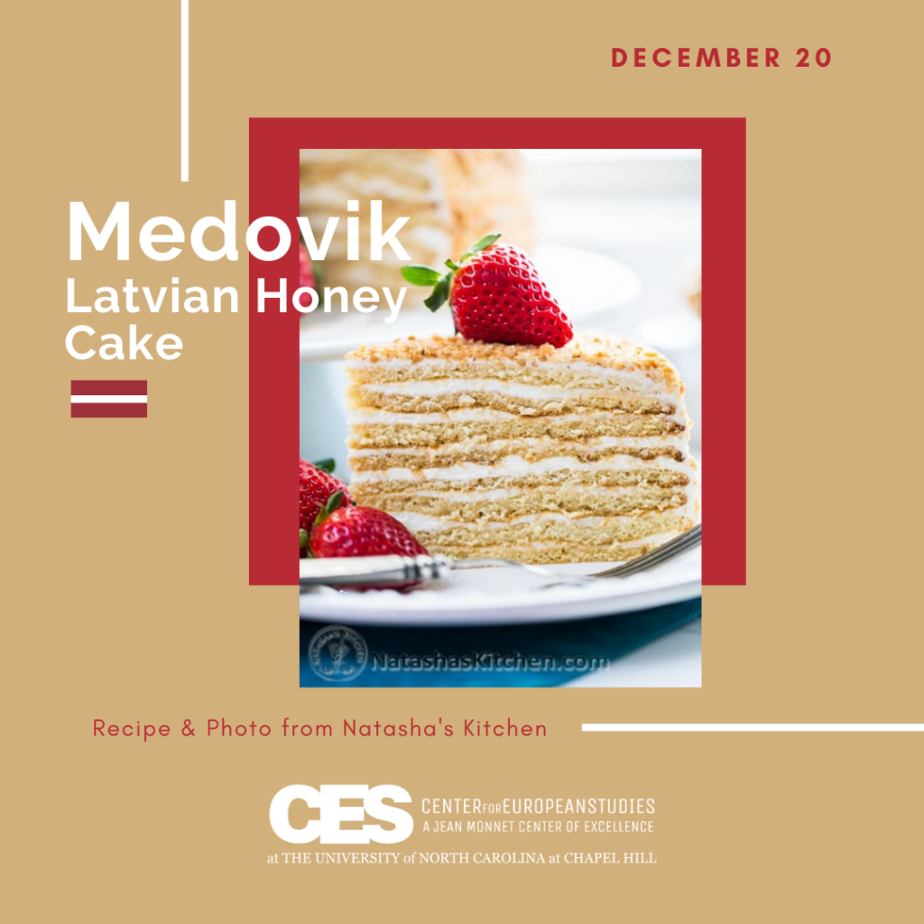 Tile with picture of layered honey cake
