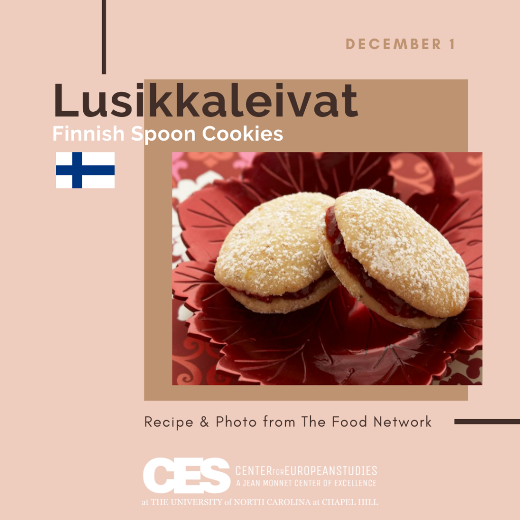 Tile that says Finnish Spoon Cookies with an image of the cookies.