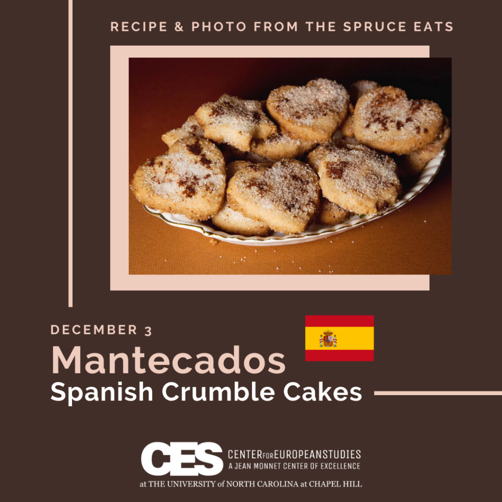 Tile with picture of cookies and words Spanish Crumble Cakes.