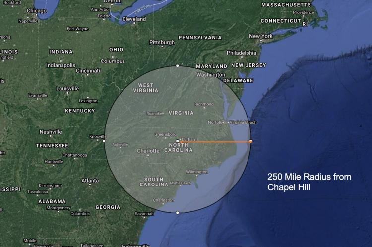 Map of North Carolina with radius