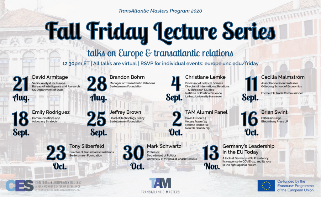 Poster showing 11 events of the UNC TAM fall 2020 Friday lecture series.
