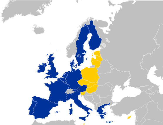 This map  shows the new members of the EU from the 2004 enlargement are in yellow. Older members are in Blue.
