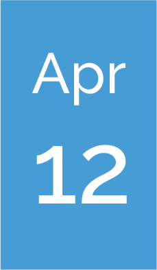 Rectangle with text saying Apr 12.