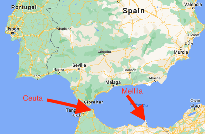 A map showing the locations of the Spanish exclaves Mellila and Ceuta.