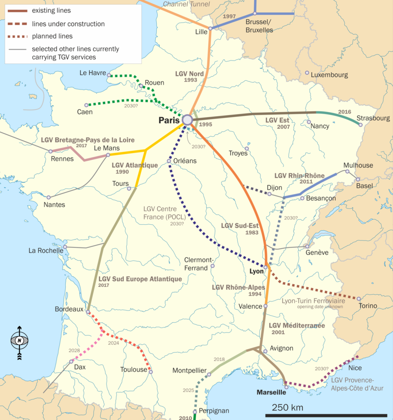 A Map of the French TGV (high speed rail) Network