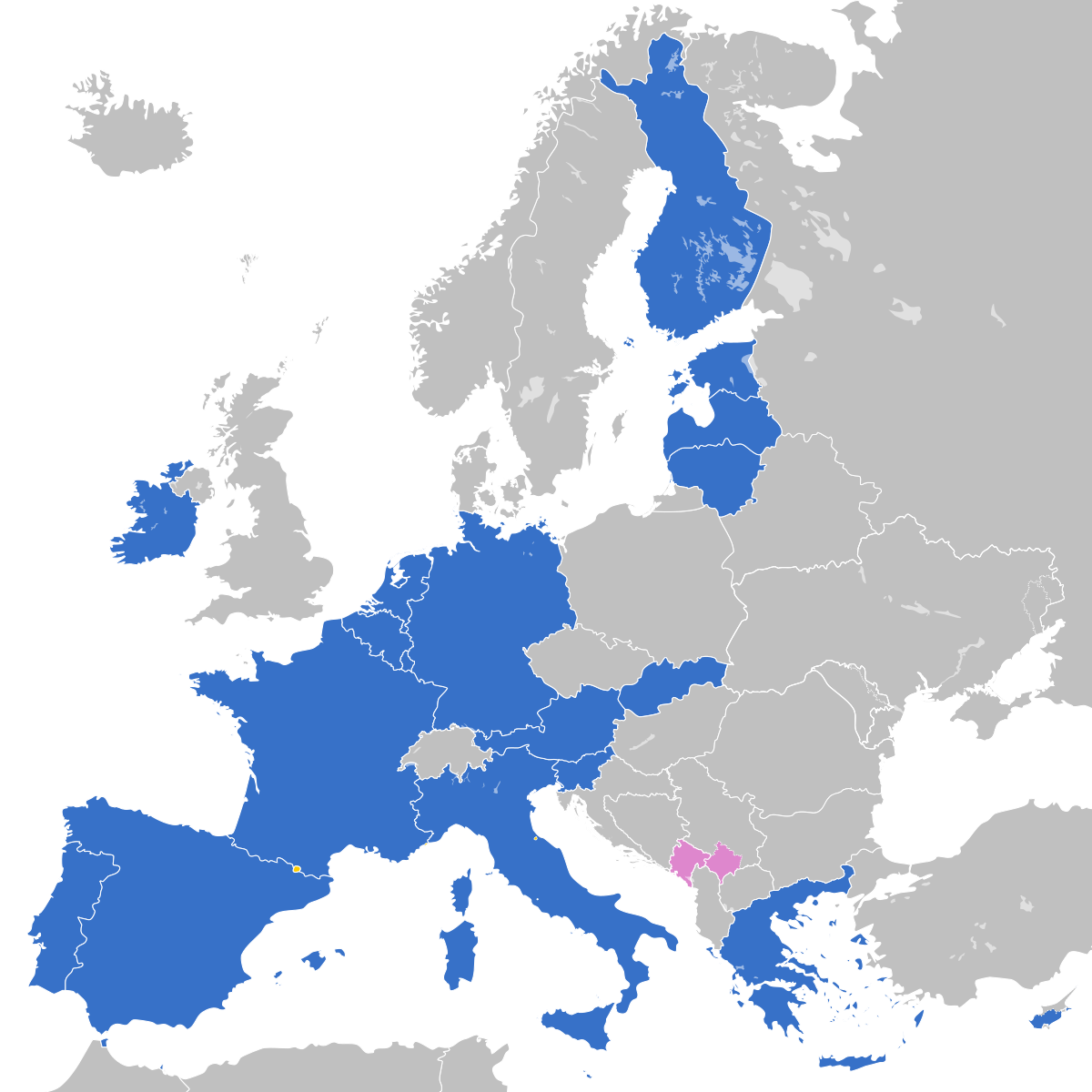 Countries using the Euro are in light blue.