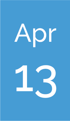 Rectangle with text saying Apr 13.