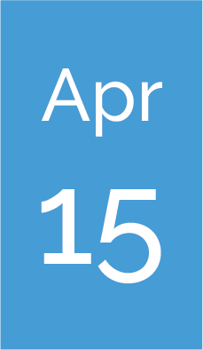 Rectangle with text saying Apr 15.