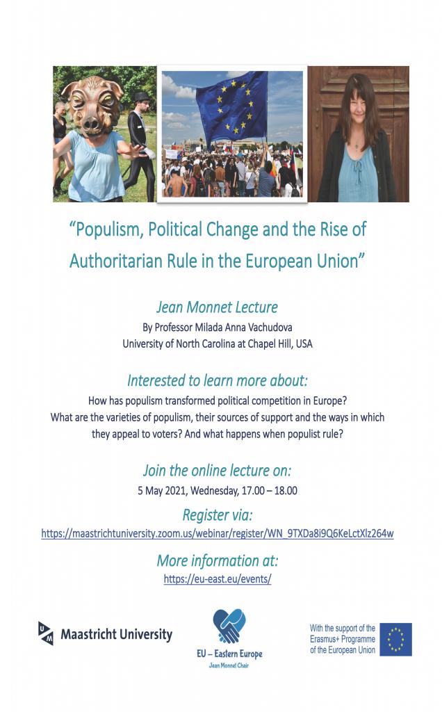 Promotional flyer for Milada Vachudova's May 5 2021 talk on populism at Maastricht University.